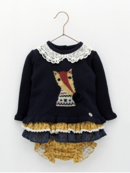 Baby girl dress of jumper with fox print and bloomers