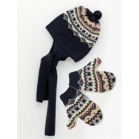 Baby boy set of hat scarf and mittens