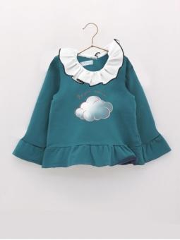 Girl sweatshirt with ruffle collar