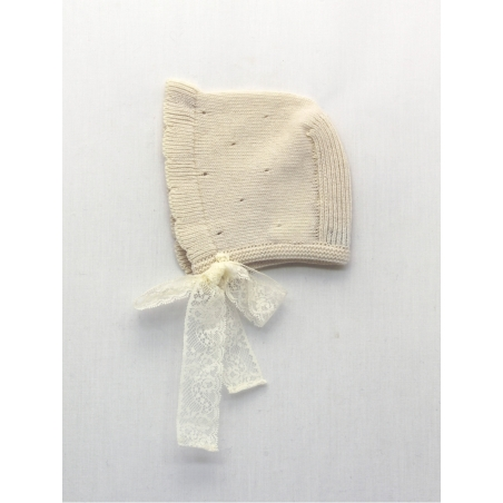 Baby knitted bonnet, Baptism Collection