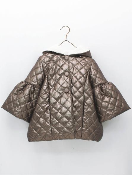 Padded girl coat with flounced sleeves