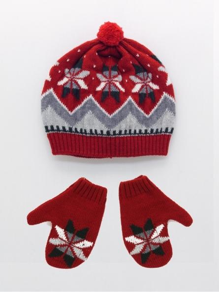 Baby boy bonnet and mittens set
