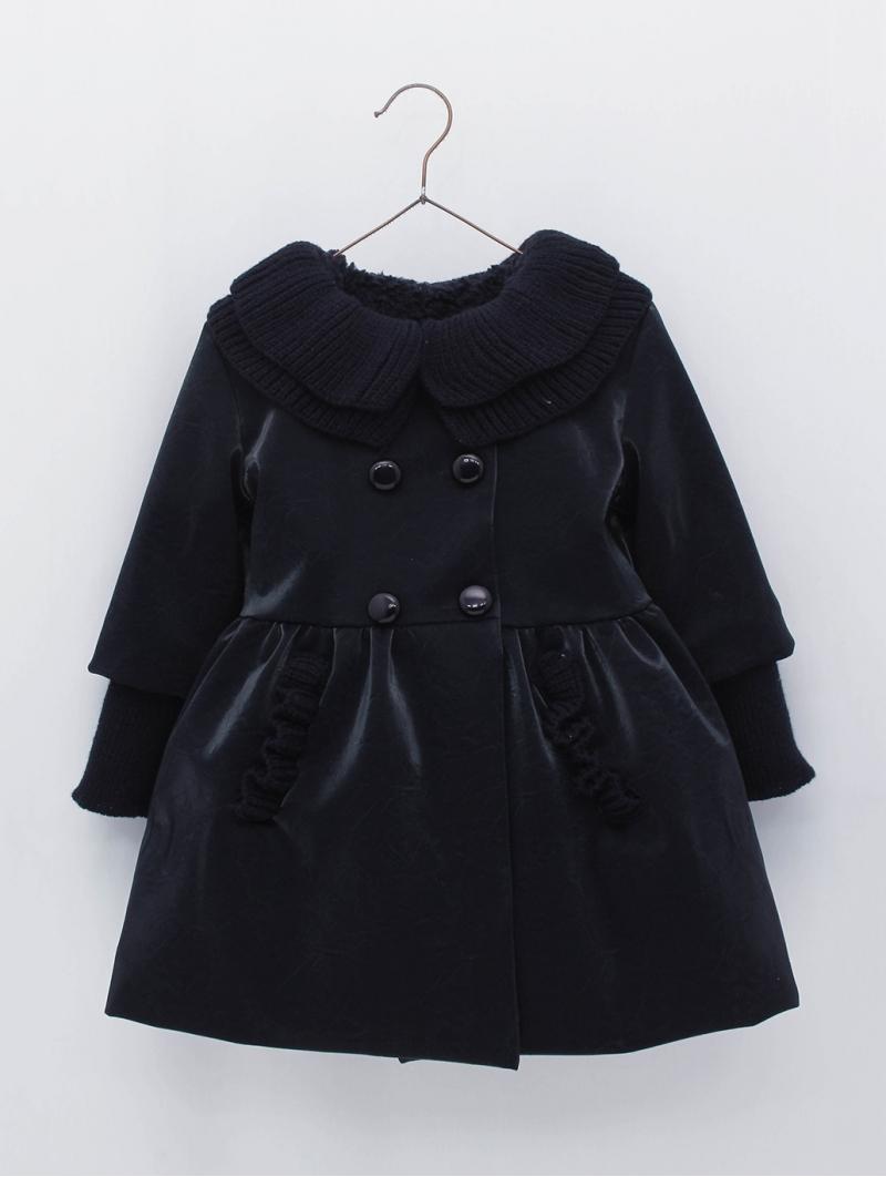 Abrigo niña corte cintura cuello punto