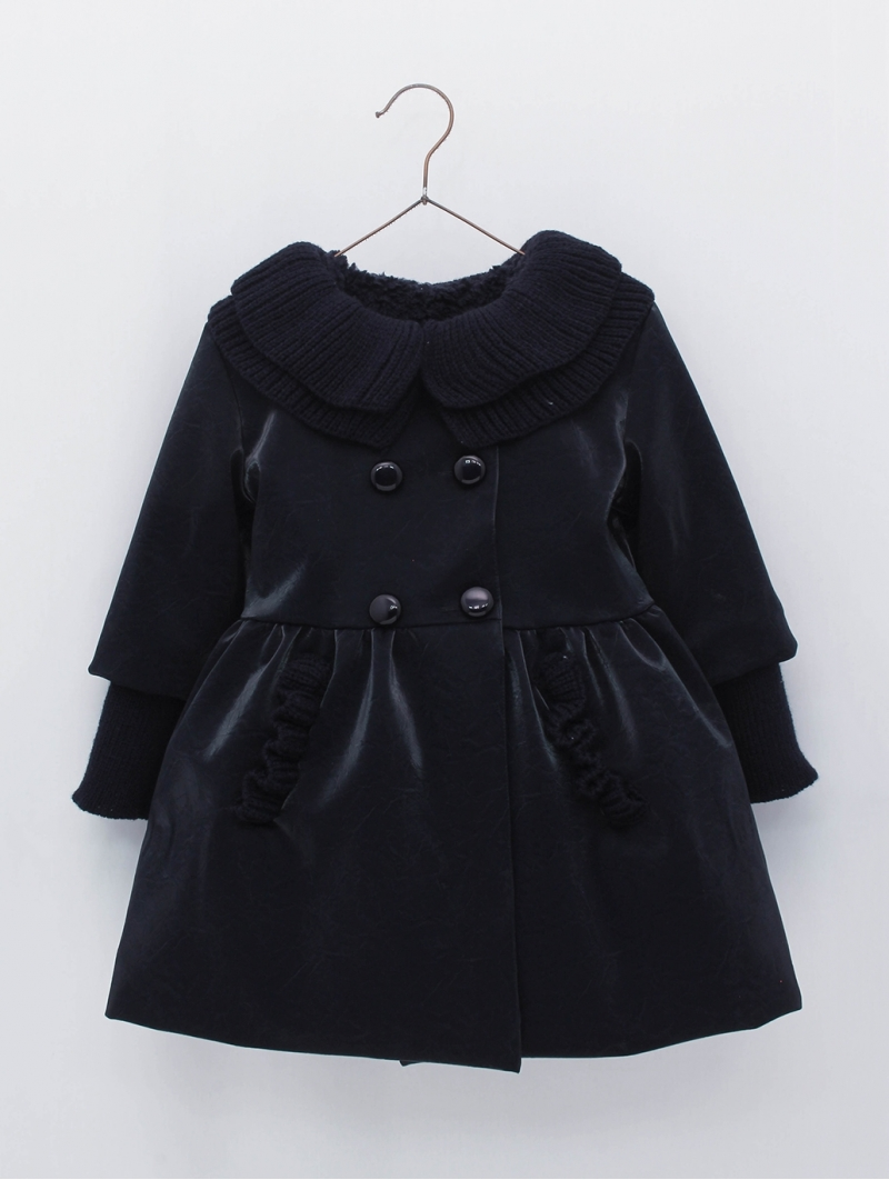 Girl coat with waist cut and knittec collar