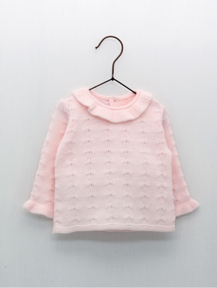 Baby girl sweater with bobble effect and ruffle collar