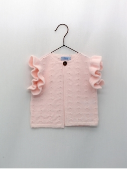 Baby girl vest cardigan with ruffles