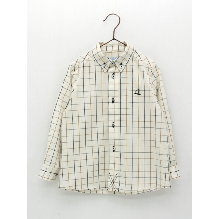 Classic style checked boy shirt