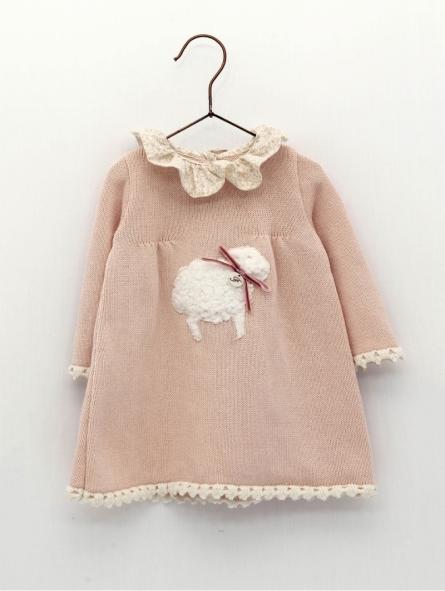 Vesido bebé niña punto ovejita