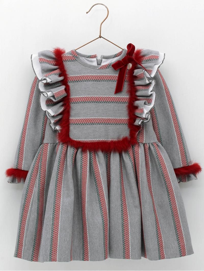 Vestido niña corte cintura tejido rayas