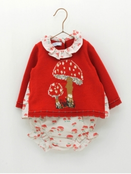 Baby girl muchroom patterned set