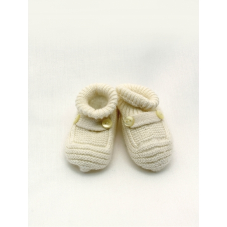 Knitted baby boot-like booties
