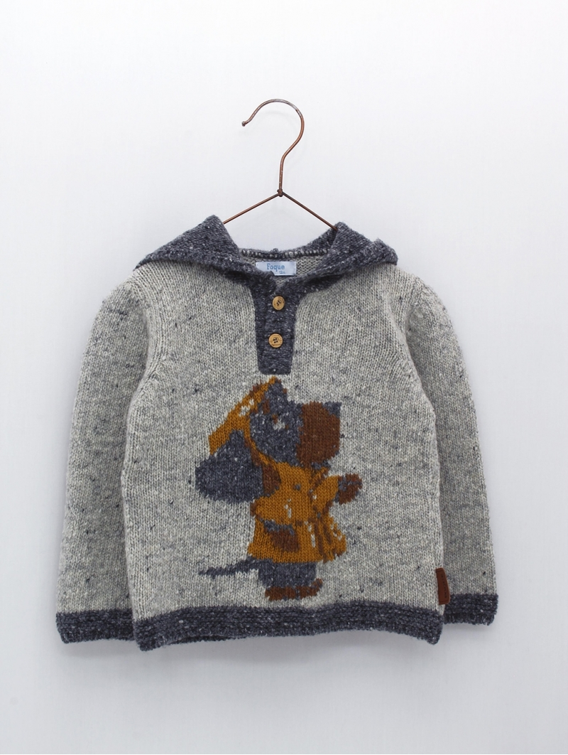 Jersey capucha bebé niño dibujo perro con gabardina