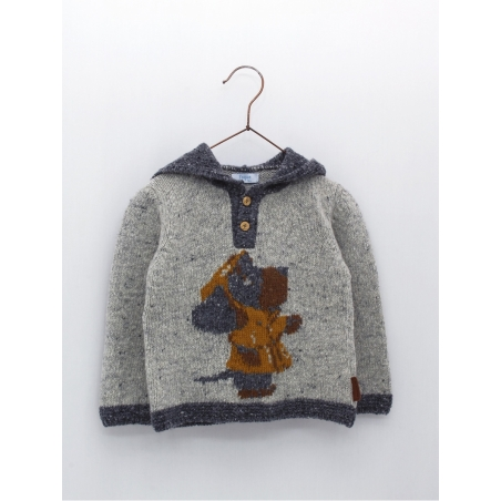 Baby boy sweater with hood and drawing of a dog wearing a trench coat