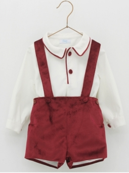 Baby boy set of shirt with tims and velvet overalls