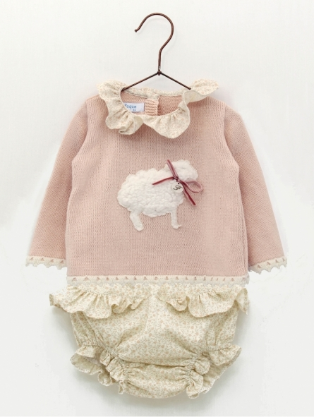 Baby girl sweater with little sheep and flowered bloomers