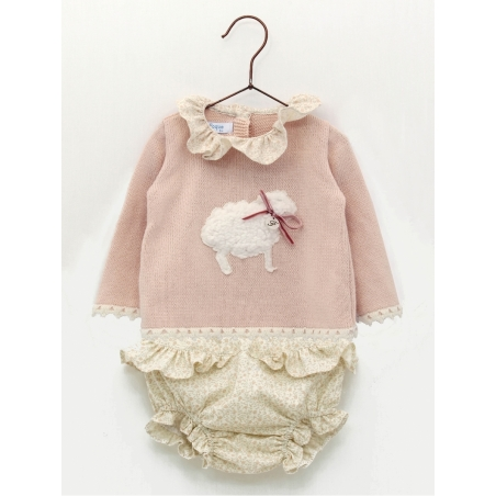 Jersey bebé niña ovejita y braguita flores