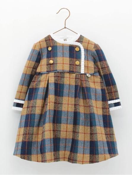 Vestido niña cuadros corte cintura
