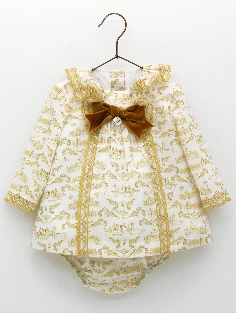 Vestido y braguita bebé niña en toile de jouy