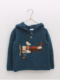 Baby boy sweater with hood and plane drawing