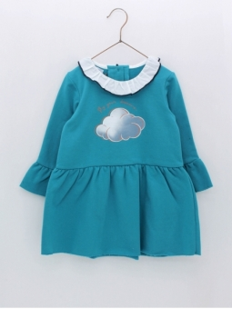 Girl dress with cloud print
