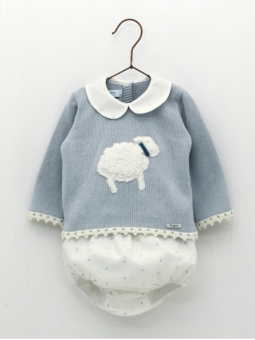 Baby boy set with embroidered little sheep