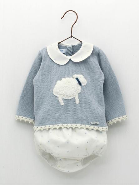 Conjunto bebé niño bordado ovejita
