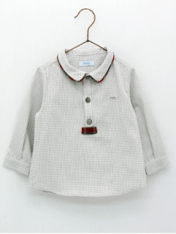 Checked baby boy shirt with red piping