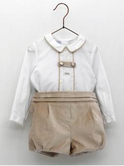 Conjunto bebé criança de camisa e calça terciopelo
