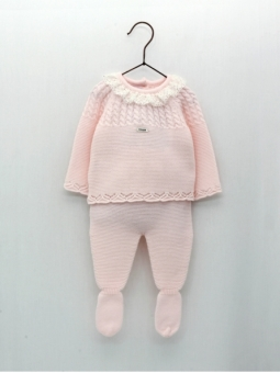 Girl sit of sweater with ruffle collar and leggings