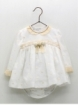 Romper-style girl baby dress with embroidered bobble stitches