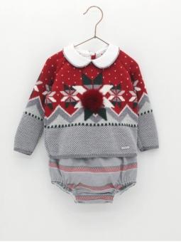 Conjunto bebé niño jersey greca y braguita