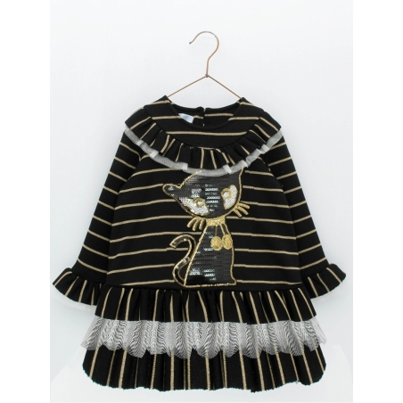 Girl dress with sequened cat