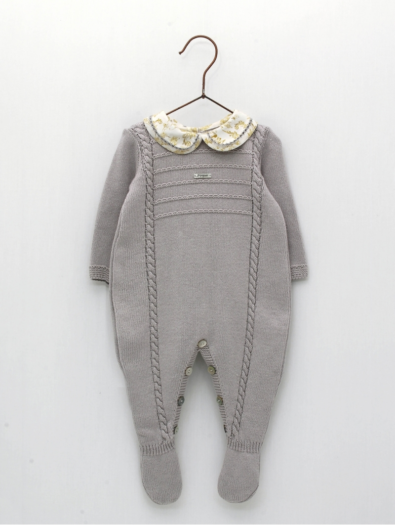 Baby boy romper with collar with hemstitch