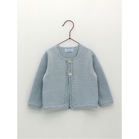 Knitted baby cardigan with cable sticthes