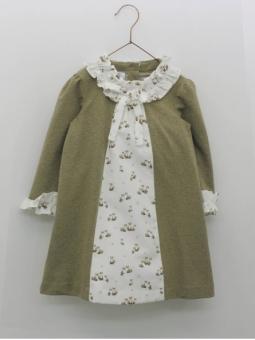 Vestido en tejido sudadera con pieza estampado zorritos