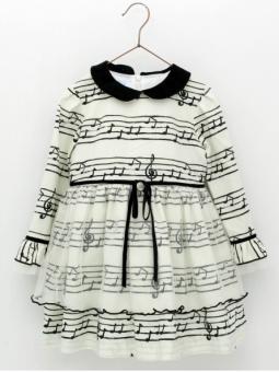 Music sheet patterned girl dress