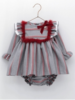 Vestido jesusito bebé criança listras