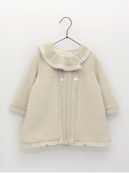 Lined coat with ruffle collar