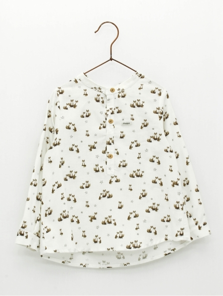 Patterned baby boy shirt with mandarin collar
