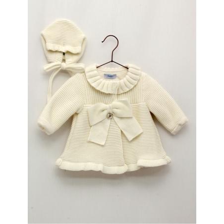 Conjunto bebé niña abrigo punto forrado borreguito y capota