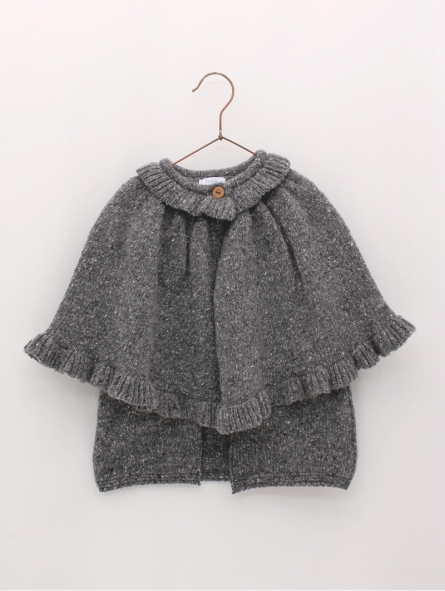 Knitted cape coat with ruffle collar