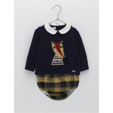 Baby boy set with fox drawing and bloomers