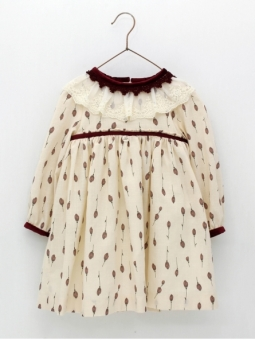 Girl dress with tulip print and puffed sleeves