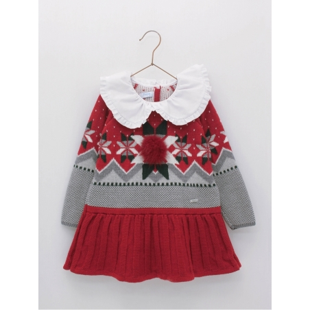 Knitted girl dress with hip cut