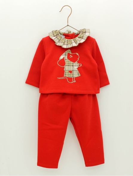 Baby girl plush sweater and trousers with embroidered drog