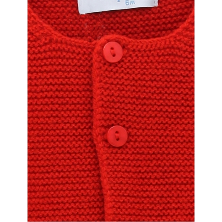 Classic garter stitch cardigan with toned buttons