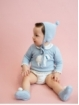 Unisex baby knitted bonnet with pompom