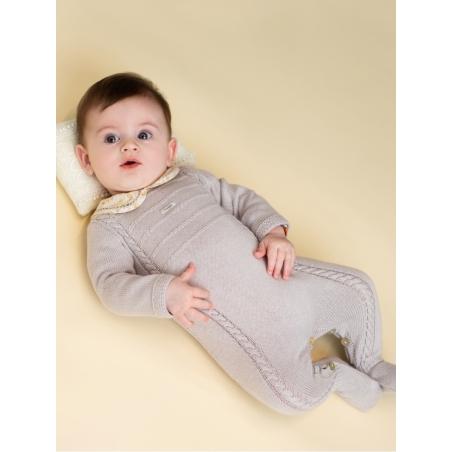 Pelele inteiro bebé com pescoço com vainica