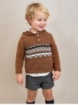 Boy jumper with fretwork and hood