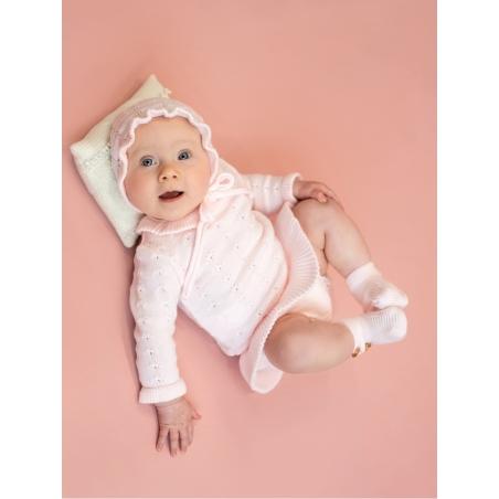 Camisola bebé criança efeito bodoque e pescoço volante